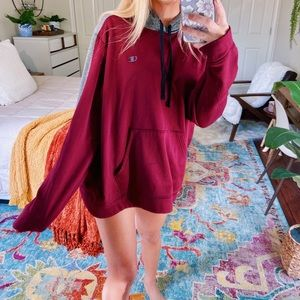 [champion] oversized burgundy athletic hoodie